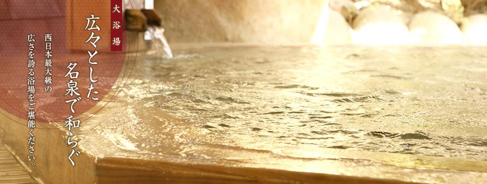 大浴場。広々とした名泉で和らぐ